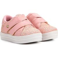 Tênis Infantil Menina Fashion Gliter E Velcro Feminino - Feminino-Rosa