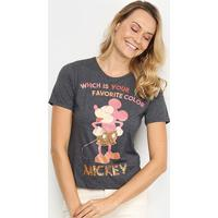 Blusa Cativa Disney Mickey Color Paetê Feminina - Feminino-Mescla Escuro