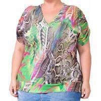 Blusa Plus Size Confidencial Extra Marine Feminina - Feminino-Verde