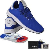 Kit Tênis + Carteira Chinelo E Cinto Polo Joy Masculino - Masculino-Azul