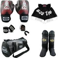 Kit Muay Thai Top Fheras - Luva Bandagem Algodão Bucal Caneleira Shorts Bolsa -14 Oz Iron Vermelho