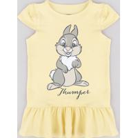 Vestido Infantil Tambor Bambi Com Babado Manga Curta Amarelo