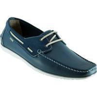 Sapato Dockside Freeway Em Couro Escuna 1 - Masculino-Azul