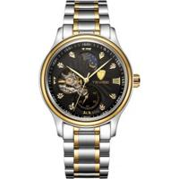 Relógio Tevise 8122A Masculino Automático Pulseira Aço - Preto E Dourado