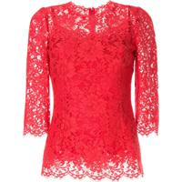 Dolce & Gabbana Blusa De Renda Com Acabamento Ondular - Vermelho