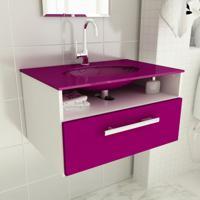 Gabinete 16 Com Pia De Vidro Linea 80 Cm Violeta