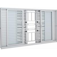 Janela De Alumínio De Correr Multiflex Aluminium Branca Com Grade Classic 6 Folhas 100X150X14 - Sasazaki - Sasazaki