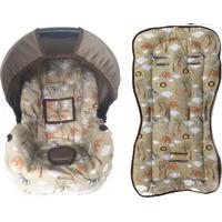 Conjunto Capa De Bebê Conforto E Capa De Carrinho Safari Alan Pierre Baby 0 A 13 Kg Caqui