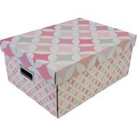 Caixa Organizadora Geométrica- Rosa & Off White- 18Xboxmania