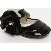 Sapato Boneca Com Flor & Perola - Preto- Ticco Babytico Baby