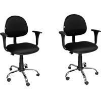 Conjunto 2 Cadeiras De Escritório Diretor Giratória Preta E Cromada