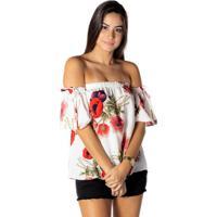Blusa Ciganinha Floral - Branca & Coraldwz