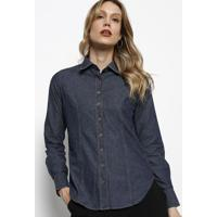 Camisa Jeans Com Poá - Azul Escuro & Branca - Dudalidudalina