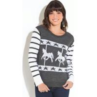 Suéter Em Tricot Com Desenho Cavalos Cinza