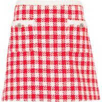 Miu Miu Saia De Tweed Xadrez - Vermelho