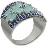Anel Flor Cravejado Com Zircônias Azuis E Banho Em Prata