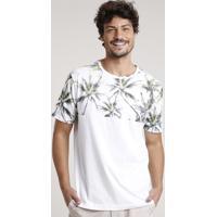 Camiseta Masculina Com Estampa De Coqueiros Manga Curta Gola Careca Off White