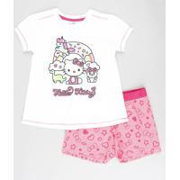 Pijama Infantil Hello Kitty Manga Curta Off White