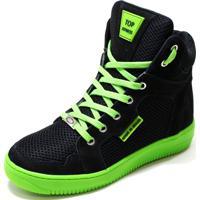 Tênis Sneaker Top Fitness Para Academia Dança Preto/Verde