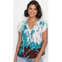 Blusa Com Botões- Branca & Azul- Vip Reservavip Reserva