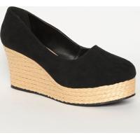 Sapato Plataforma Aveludado Com Corda - Preto & Bege Clamya Haas