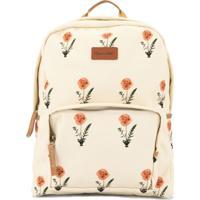 Oscar De La Renta Kids Poppies Print Backpack - Branco