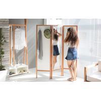 Biombo Com Espelho Em Mdf E Madeira Cabideiro Divisor De Ambientes Ammy Branco Com Jatobá 138X165 Cm