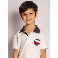 Camisa Polo Aleatory Kids Piquet Flag - Masculina - Masculino-Branco