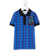 Kenzo Kids Camisa Polo Xadrez - Blu