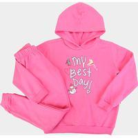 Conjunto Moletom Infantil Bee Loop Estampa Patins Feminino - Feminino-Pink