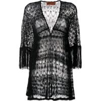 Missoni Mare Fringed-Sleeve Knitted Dress - Preto