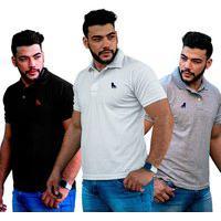 Kit 3 Camisetas Polo Tecido Piquet Preto Branca Cinza