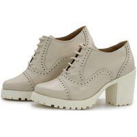 Bota Ankle Boot Feminina Cano Curto Tratorada Oxford Q&A Calçados Off White