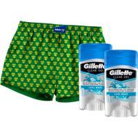 Kit 2 Desodorantes Gillette Antitranspirante Clear Gel Cool Wave 45G + Samba Canção Tamanho U
