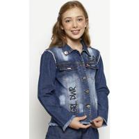 "Casaco Jeans ""Grl Pwr""- Azulbobbylulu"