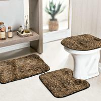 Jogo Banheiro Dourados Enxovais Safari 03 Peças Onça Pintada