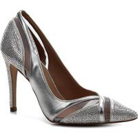 Scarpin Shoestock Bride Tela Cristais - Feminino-Prata