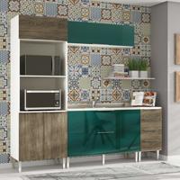 Cozinha Modulada Compacta 6 Portas E 4 Gavetas Vanguarda Rústico/Verde - Urbe Móveis