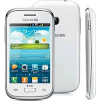 "Smartphone Samsung Galaxy Young Plus Duos Tv S6293 Branco - 4Gb - Dual Chip - Câmera 3Mp - Tela 3.2"" - Android 4.1"