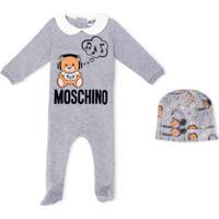 Moschino Kids Macacão De Bebê Com Estampa De Logo - Cinza