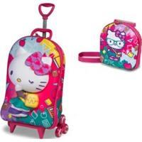 Mochila Escolar 3D Com Lancheira Hello Kitty Kids - Feminino