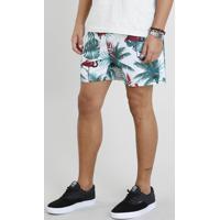 Short Masculino Estampado De Flamingo Com Bolsos Off White