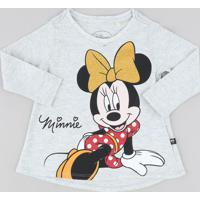 Blusa Infantil Minnie Com Glitter Manga Longa Decote Redondo Cinza Mescla Claro