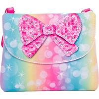 Bolsa Infantil Princesa Pink Carteira Gradiente Laço Lantejoula Multicolorido