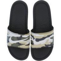 Chinelo Nike Benassi Jdi Print - Slide - Masculino - Verde Esc/Marrom Cla