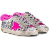 Golden Goose Kids Super Star Glitter Sneakers - Prateado