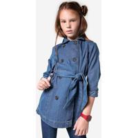 Casaco Jeans Infantil Menina Trench Coat Hering Kids