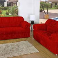 Capa De Sofá Casa Dona 21 Elásticos Vermelho