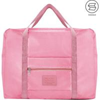 Bolsa De Viagem Dobrã¡Vel- Rosa- 20X45X36,5Cm- Jajacki Design