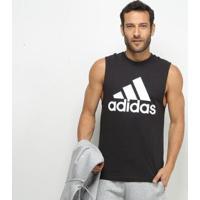 Camisa Regata Adidas Mh Bos Tank Masculina - Masculino-Preto+Branco